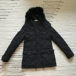 Burberry Brit Benley Fox Fur Trim Down Coat